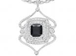 תליון יהלומים בעיצוב אישי- יהלום שחור מרכזי