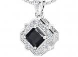 תליון וינטג'- תכשיטים בעיצוב וינטג'- יהלום שחור מרכזי