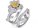 סט טבעות יהלומים בצורת פרח