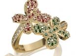 טבעת פרחים יהלומים אמרלד ורובי