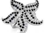 טבעת כוכב ים יהלומים שחורים ולבנים