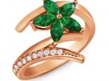 טבעת זהב בעיצוב פרח צבעוני אבני חן ספיר אמרלד רובי