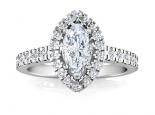 טבעת יהלומים יוקרתית עם יהלום מרכזי בצורת סירה
