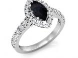 טבעת יהלומים יוקרתית עם יהלום שחור מרכזי בצורת סירה
