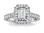 טבעת יהלומים מעוצבת עם אבן מלבנית מרכזית אמרלד/בגט יהלום