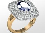 טבעת זהב גדולה עם אבן חן 10 קארט