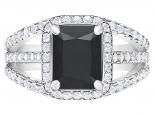 תכשיטים לאישהטבעת זהב יהלום שחור מרובע 4 קארט
