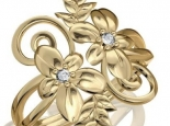 טבעת זהב בעיצוב פרחים