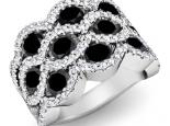 טבעת יהלומים שחורים מפוארת