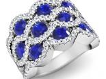 טבעת יהלומים מפוארת אבן חן ספיר