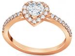 טבעת יהלום לב שסביבו יהלומים