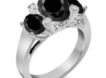 טבעת מעוצבת יהלום שחור אובל מרכזי