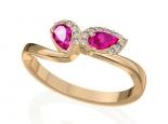 טבעת זהב ויהלומים אבן ורודה