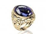 טבעת זהב מעוצבת גדולה ומיוחדת אבני חן בצבעים שונים
