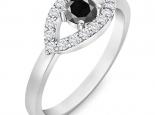 טבעת יהלומים מעוצבת עין יהלום שחור