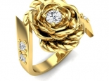 טבעת ותליון פרח הלוטוס סט מעוצב זהב ויהלום
