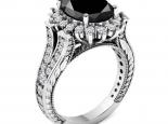 טבעת דיאנה מרשימה טבעת וינטג'- יהלום שחור מרכזי