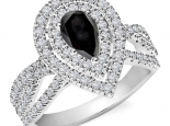 טבעת בעיצוב טיפה וינטג' - יהלום שחור מרכזי