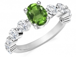 טבעת יהלומים אבן חן מרכזית oval