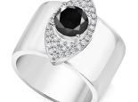 טבעת עין עבה משובצת יהלומים לאישה- יהלום שחור מרכזי