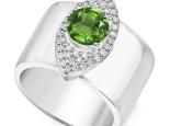 טבעת עין עבה משובצת יהלומים לאישה- אבן חן מרכזית