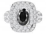 טבעת יהלומים גדולה ויוקרתית לאישה- יהלום שחור מרכזי