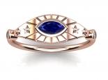 טבעת זהב בצורת עין - אבן חן ויהלומים