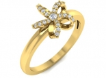 טבעת פרח עדינה עם יהלומים