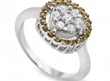 טבעת זהב עם יהלומים ואבני ספיר צהובות - SATURN