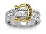 טבעת זהב ויהלומים בעיצוב חגורה יהלומים לבנים ושחורים