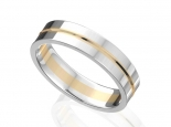 טבעת נישואין 2 צבעים זהב