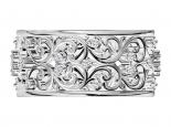 טבעת נישואין עבה בעיצוב תחרה- משובצת יהלומים