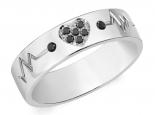 טבעת נישואין עם לב משובץ יהלומים שחורים- הדגם הצר