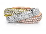 טבעת יהלומים 3 שורות יהלומים זהב צהוב זהב לבן וזהב אדום משולב או לחוד