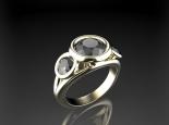 טבעת יהלומים שחורים בעיצוב וינטג'