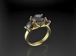 טבעת 3 יהלומים שחורים גבוהה